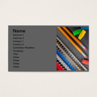 back_to_school_032 pencils erasers books education business card
