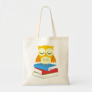 Back to School Bookworm Owl Canvas Tote Bag