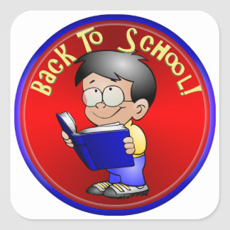 Back to School - Boy Reading Book Square Stickers