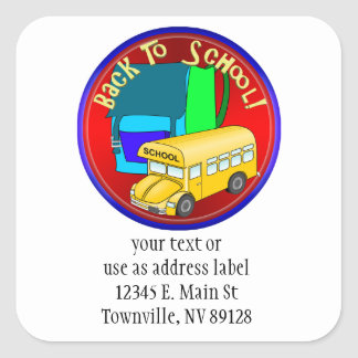 Back To School Bus & Blue Backpack Square Sticker