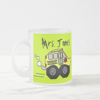 Back to School Bus Frosted Glass Coffee Mug