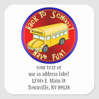 Back To School Bus Fun Square Stickers