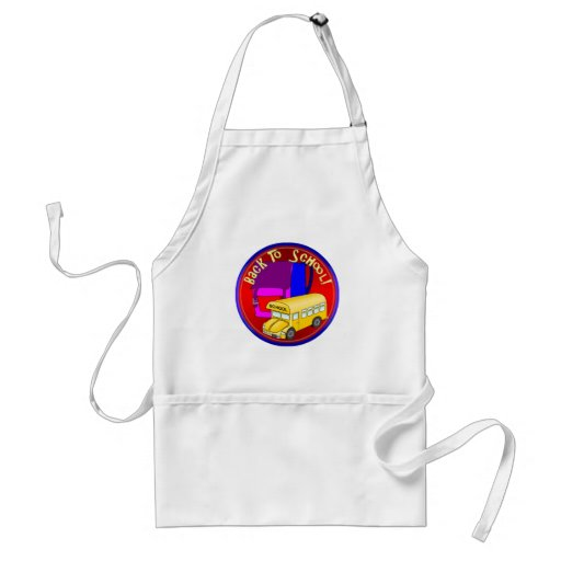 Back To School Bus & Pink Backpack Apron