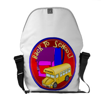 Back To School Bus & Pink Backpack Courier Bag