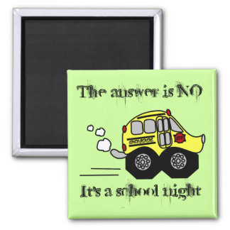 Back to School Bus Square Magnet