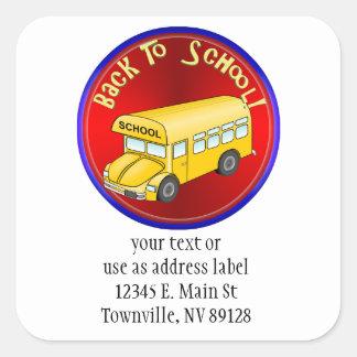 Back To School Bus Square Sticker