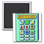 Back To School Calculator Square Magnet