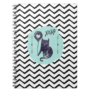 Back to School Cat Kitty ZigZag Chevron Watercolor Spiral Notebooks