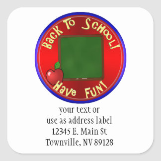Back To School ChalkBoard - Add Text To Board Square Sticker