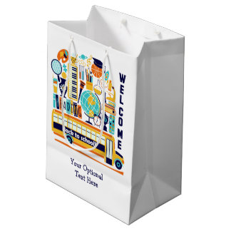 Back to School custom text medium gift bag