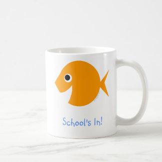 Back To School Cute Cartoon Goldfish Basic White Mug