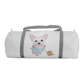 Back to school. French bulldog & funny Hamster bag Gym Duffel Bag