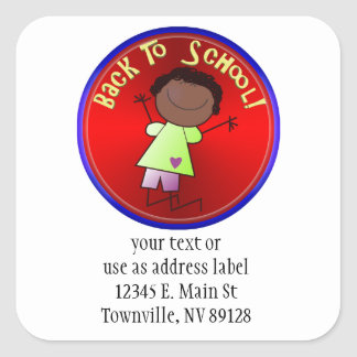 Back To School - Happy Girl (1) Square Sticker
