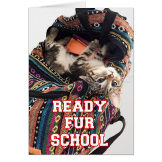 Back to School Kitten in Backpack Greeting Card