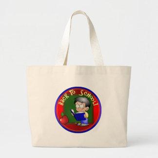Back To School - Little Boy Reading Book Jumbo Tote Bag