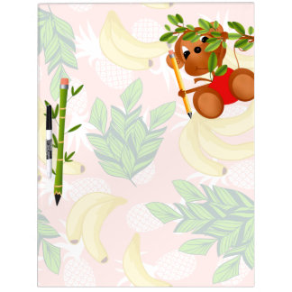 Back to School Monkey With Bananas Dry Erase Board