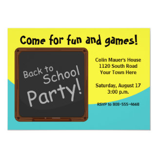 "Back to School Party 5"" X 7"" Invitation Card"