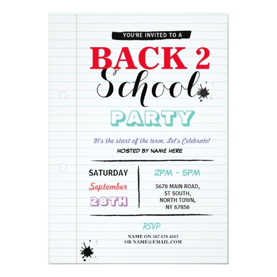 Back To School Party Note Paper Fun Ink