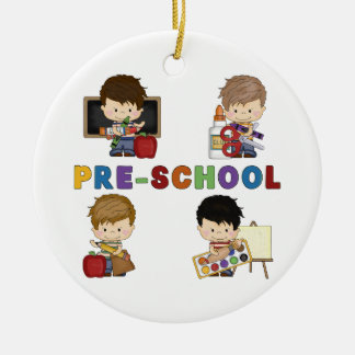 Back To School Preschool Boy Round Ceramic Decoration