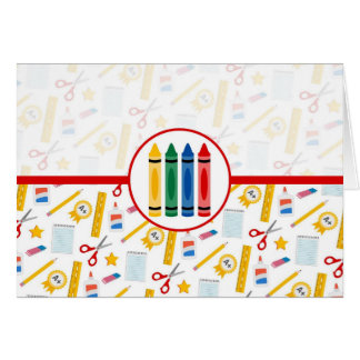Back to School - School Supplies Greeting Cards