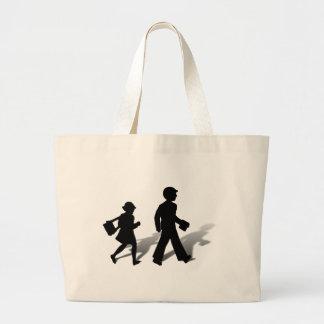 Back To School - Silhouette Kids Walking Jumbo Tote Bag