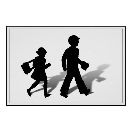 Back To School - Silhouette Kids Walking Posters