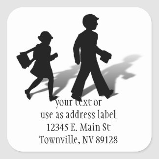 Back To School - Silhouette Kids Walking Square Sticker