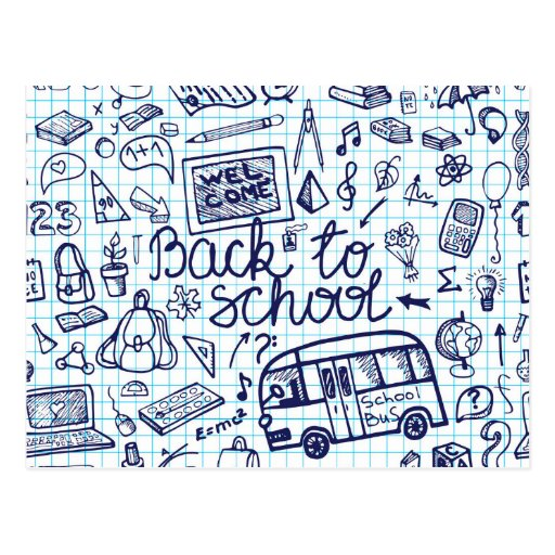 Back to School Supplies. Sketchy Notebook decor Postcards