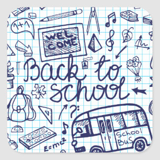 Back to School Supplies Sketchy Notebook decor Square Sticker