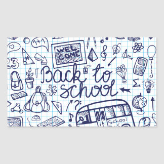 Back to School Supplies Sketchy Notebook decor Rectangle Sticker