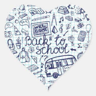 Back to School Supplies Sketchy Notebook decor Heart Sticker