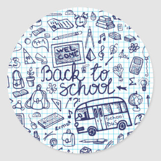 Back to School Supplies Sketchy Notebook decor Round Stickers