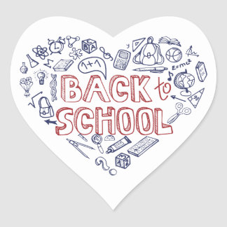 Back to School Supplies Sketchy Notebook Heart Stickers