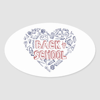 Back to School Supplies Sketchy Notebook Oval Sticker