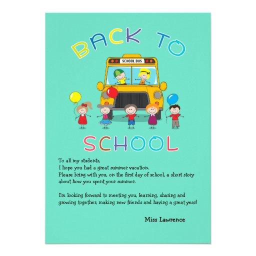 Back to School Teacher's Ice Breaker Notecard Custom Invitation