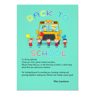 "Back to School Teacher's Ice Breaker Notecard 5"" X 7"" Invitation Card"