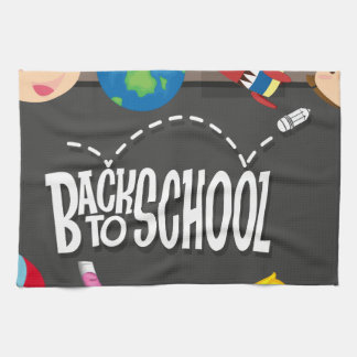 Back to school theme with boy and girls tea towel