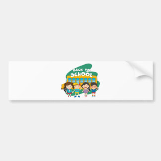 Back to school theme with children and bus bumper sticker