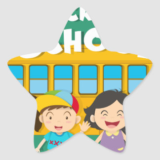 Back to school theme with children and bus star sticker