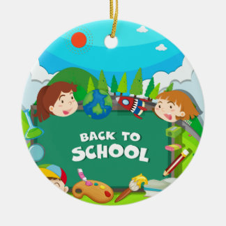 Back to school theme with children christmas ornament