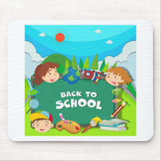 Back to school theme with children mouse pad