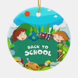 Back to school theme with children round ceramic decoration