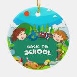 Back to school theme with children round ceramic decoration
