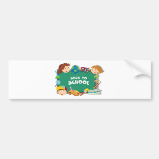 Back to school theme with students and objects bumper sticker