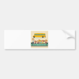 Back to school theme with students and teacher bumper sticker