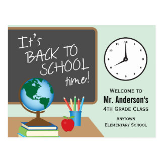 Back To School Time Personalized Teacher Postcard