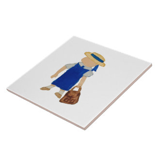 Back to School Water Colored Girl with Bookbag Large Square Tile