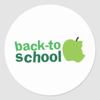 back to school with green apple round sticker