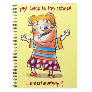 back to the scholl , unfortunatelly funny cartoon spiral note book