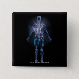 Back view of a human skeleton 15 cm square badge